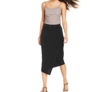 DKNY Jeans GRAY Faux Wrap Midi Skirt  Pull-On XL